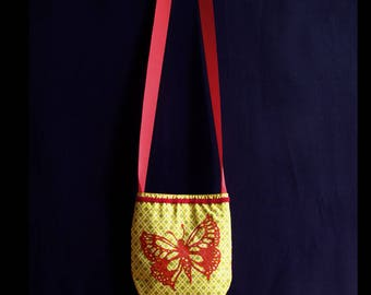 Cotton pouch printed, red ochre, print on fabric, original drawing