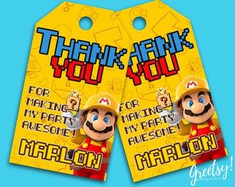 Super Mario Thank You Tags, Super Mario Birthday Favor Tags, Super Mario Party Tags, Super Mario Tags, Super Mario Printable Supplies, Mario
