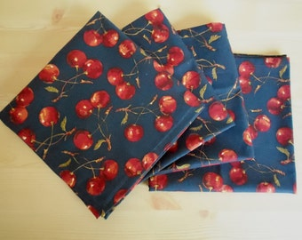 Set of 4 Cherries Jubilee Fabric Napkins