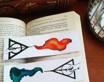 Harry Potter bookmark, Gryffindor, Slytherin, Order of the Phoenix, Deatheater, hogwarts watercolour bookmark, potterhead, bibliophile