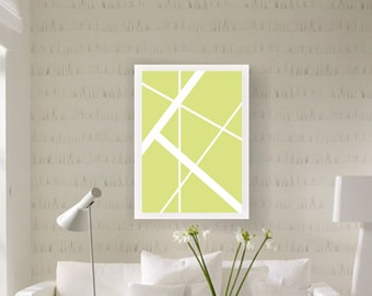 Green Geometry, white lines, digital download print, modern art print