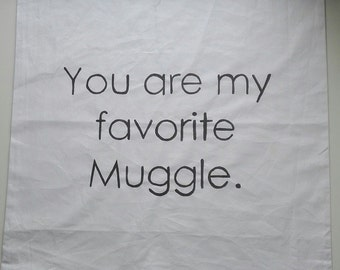 Cushion cover 50 x 50 cm 'you are my favorite Muggle', hand painted