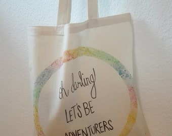 "Jute bag ""oh darling, let's be adventurers"", multi colored, hand painted"