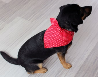 Rosie the Riveter dog bandana with bow, red and white polka dot, made with 100% cotton, medium and large sizes available