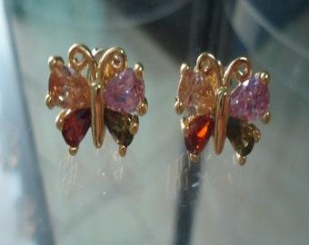 Butterfly Earrings,Colorful Earrings,Insect Earrings,Silver Earring Butterfly