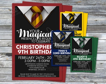 Brithday Party Invitations - Hogwarts Houses - Inspired by Harry Potter - Unofficial - HPBD01