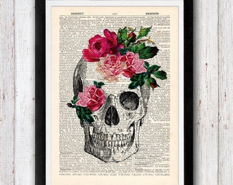 Flower Skull print Wall decor Funny upcycled dictionary page book art print