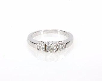 Stunning 14K White Gold Three-Stone 0.71 CTW Diamond Ring Band - 4 Grams - Size 6 1/4