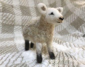 Needle felted sheep with raw fleece - made to order