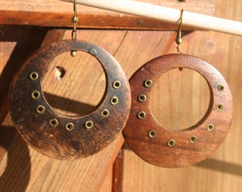 Wooden earrings.  Vintage.  Hoop earrings.  Boho chic.