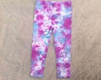 Colorful TieDye Leggings, Size 4T, Cotton Leggings, Toddler Leggings, Purple Stretch Pants, watercolor leggings, abstract leggings, C021760