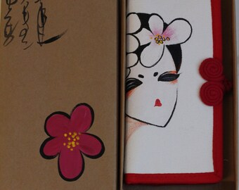 Hand Painted wallet, flower girl face portrait , frog closure knot