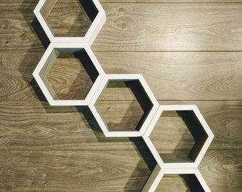 Hexagon Shelves (Two Toned Set of 5), Honeycomb Shelves, Geometric, Decor, Home Decor, Rustic, Nursery, Nursery Wall Art, Nursery Decor