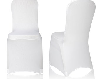 Universal White Polyester Spandex Folding Chair Cover Wedding Party