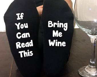 If You Can Read This Bring Me Wine Socks Wine Lover Wineo Mens Or Womens Birthday Gift Valentines Gift For Him Gift For Her Funny Gag Gift