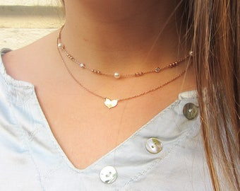 Bridesmaid gift, Rose gold necklace, wedding necklace, dainty necklace, Pearls necklace, bridal necklace, simple necklace, Silver 925 rose