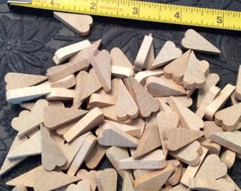 100 pieces of small primitive unfinished wood hearts Wood cutouts Hardwood hearts for crafts Craft supplies