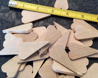 40 Medium size primitive wood unfinished craft hearts Craft supplies Natural hardwood cut out hearts