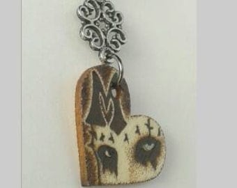 Marilyn Manson Portrait of The Beautiful People Eyes Mini Woodburned Heart Shaped Necklace with Charm