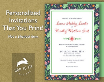 Floral Wedding Invitation Suite 1 (with RSVP, Reception & Thank You Card) - Digital File - You Print