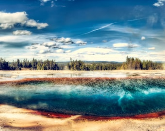 Midway Geyser Basin, Turquoise Pool, Yellowstone National Park, Travel Photography, Large Wall Art Print, Panoramic Wall Art