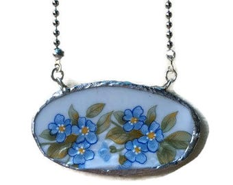 Large Oval Pendant Necklace from porcelain plate Royal broken china piece-OOAK (not reproducible).