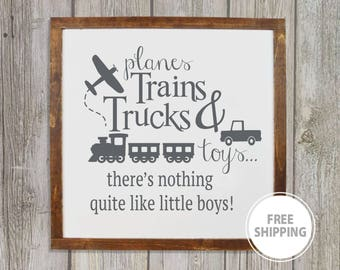 Planes trains trucks and toys framed wood sign, Playroom decor, Children's wall art, Kids playroom decor, Boys room decor, Gift for boys
