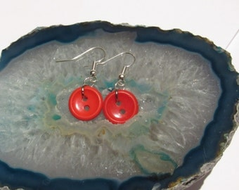 Upcycled Button Earings - RED