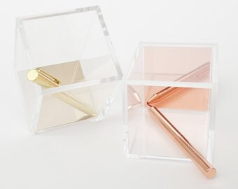 SALE - Acrylic Pen Holder // Office gift ideas // Desk organization // Gold // Rose Gold // Gifts for her