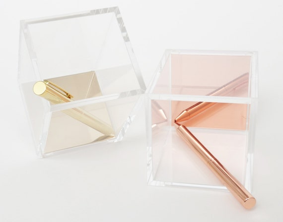 SALE   Acrylic Pen Holder // Office Gift Ideas // Desk Organization // Gold  // Rose Gold // Gifts For Her From Lunarbaystore On Etsy Studio