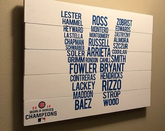 Chicago Cubs World Series Roster 'W' Sign