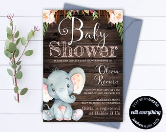 Rustic Baby Shower Invitation Template - Girl Baby Shower Invite - Elephant Baby Shower Template - Rustic Baby Girl Shower invitation