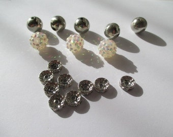 round metal silver beads with opal lucite bumpy beads and gem accent beads