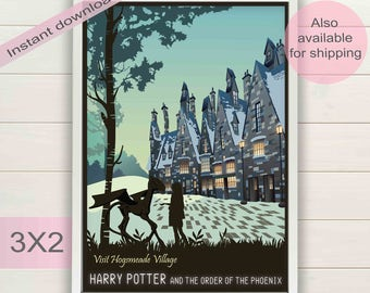 Harry Potter & Order of the Phoenix book, movie digital poster | Hogsmeade printable wall art decor | Luna Lovegood instant download print
