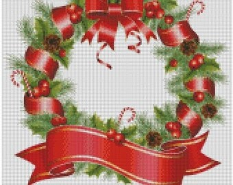 Christmas wreath. Cross Stitch Pattern PDF Instant Download