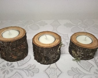 3 Slim Candle Holders, Plum tree Wood Candle Holders for Rustic Wedding, Wedding centerpiece, Tea Light Holder, Rustic Candle Holder