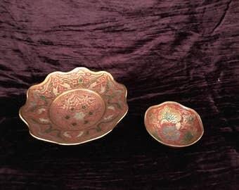 pair of vintage mid century enameled brass decorative bowls