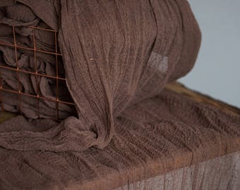 Brown Gauze Runner for Weddings Events, cinnamon Centerpieces Runner, Cheese cloth Runner, Table Hand Dyed runner, Cotton Scrim, Cheesecloth