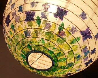 Paper Latern with leaves lavender and butterflies in blues and greens unique original hand painted