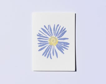 Large Flower Card, Hand Made Stationery, Block Print Flower, Aster Card for Gardener, Graduation Card for Woman, Spring Flowers Birthday