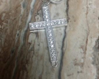 Crystal studded cross necklace