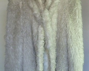 Vintage, White, Coat, Fluffy, 70s/80s
