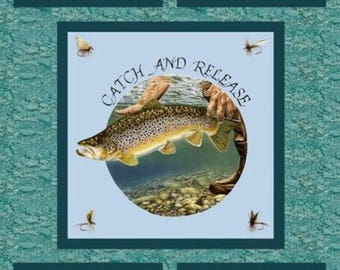 Catch & Release Fishing Fly Fishing Trout Salmon Fabric Panel
