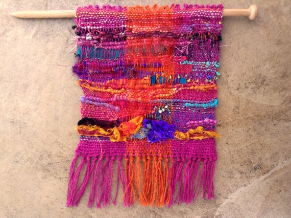 Handwoven Saori Style Tapestry Weaving Wall Hanging In Pink
