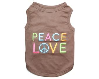 Peace Love Dog T-Shirt, Dog Clothes, Pet Shirts