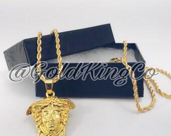 """Hip Hop Medusa Pendant w/ 24"""" & 30' Rope Chain Necklace"""