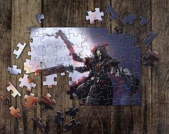 Personalized Reaper Overwatch Jigsaw Puzzles, Custom Name Photo Puzzle, Great Gift for a Gamer! Overwatch Game Puzzles