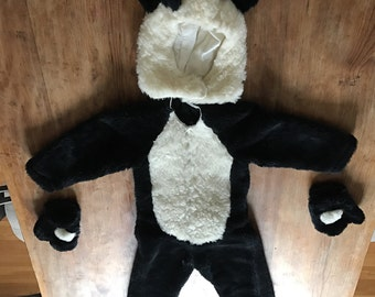 panda bear child's costume (head, body, paws), handmade vintage, black and white faux fur, halloween, birthday party