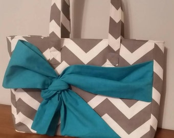 Chevron gray and white purse with turquoise bow. Handbag, diaperbag, tote.