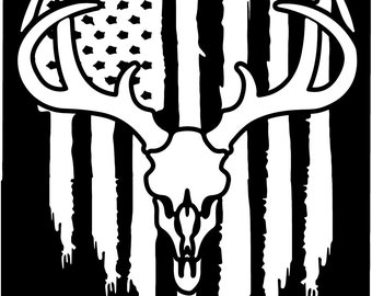 American flag Buck Whitetail Deer Fishing Hunting vinyl die cut sticker decal Pledge of Allegiance distressed weathered